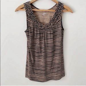 🌿LOFT Striped Ruffle Tank Top Black & Brown